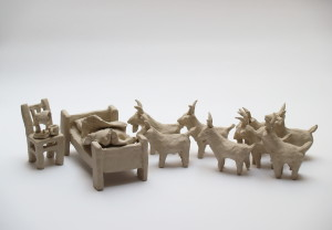 """At night when the goats are coming to the bed"", 2016, ceramic"